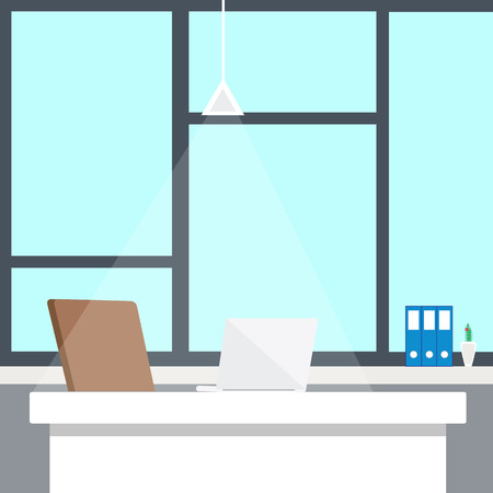 office space: Modern office interior with designer desktop in flat design. Interior office room. Modern office room. Office space. Illustration