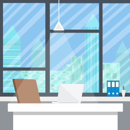 design office: Office workplace in evening. Flat design Illustration