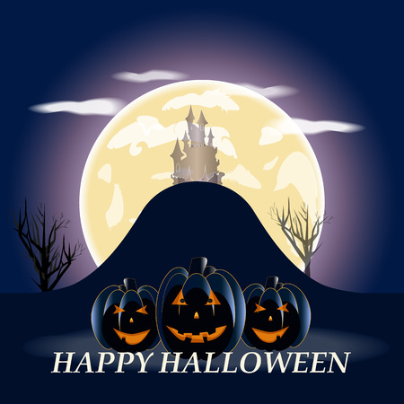 necropolis: Halloween pumpkins and dark on blue Moon background, illustration.
