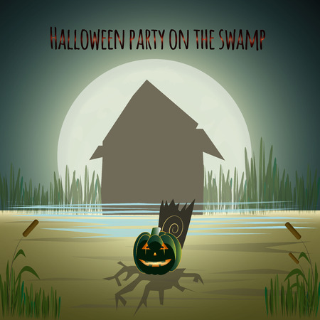 Halloween Background with house, moon and pumpkin. Happy halloween greeting card. Vector illustration. Illustration