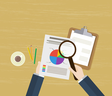 analytical: Analytic research and report on paper sheet.Work desktop top view. Flat vector design.