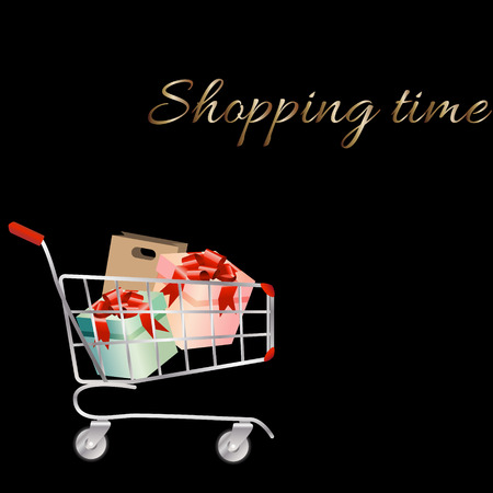 troley: Shopping cart full of shopping bags and gift boxes. A contemporary style. Vector design illustration on a black background. Illustration