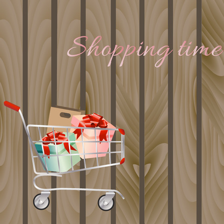 troley: Shopping cart full of shopping bags and gift boxes. A contemporary style. Vector design illustration on a wooden background.