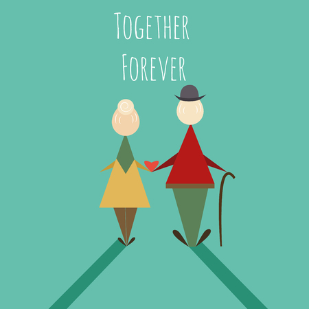 Elderly couple standing, Hold the waist together and looking to the sunset. Love and take care together. love forever. Flat vector illustration Illustration