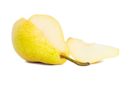 stock photograph: Cut pear and slice, isolated on a white background Stock Photo