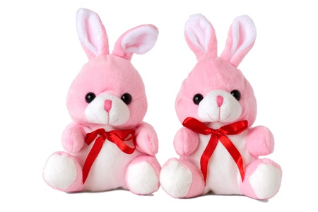 Two pink toy rabbit, isolated on a white background. photo