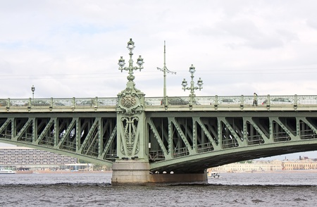 View on Trinity Bridge  and river Newa, Saint Petersburg, Russia Stock Photo - 8993767