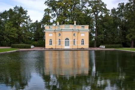 tsarskoye: Building of pavilion by  pond in  Catherine Park, Tsarskoye Selo, Russia.