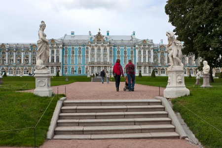 tsarskoye: View of Catherine Park and Catherine Palace, Tsarskoye Selo, Russia.