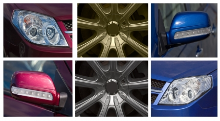 castings: Collage of pictures of various accessories for your car.