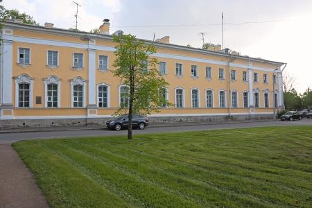 peterhof: View of buildings on  street, Peterhof, Russia.