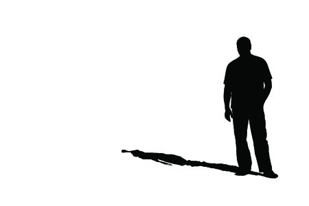 Silhouette of a lonely man with shadow on white, JPEG Stock fotó - 25831202