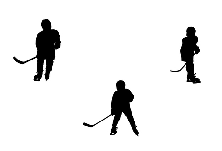 hockey players: Silhouettes of  hockey players, isolated on white background.
