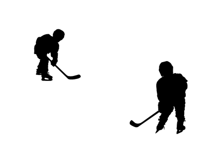 hockey players: Silhouettes of two hockey players, isolated on white background.