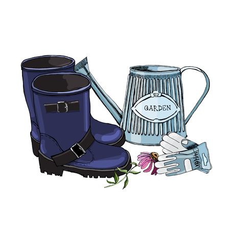 Hand drawn sketch of colored garden watering can, rubber boots, gloves and flowers on white background illustration. Иллюстрация