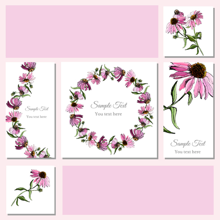 Set greeting and visit card. Hand drawn colored  sketch with wreath of echinacea flowers and  bouquet.Vector illustration.