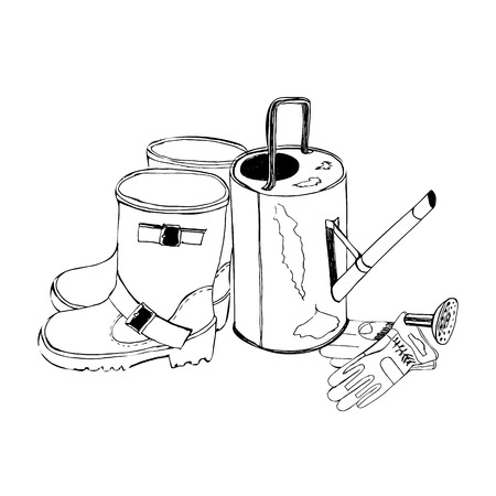 Sketch with garden gloves, watering can and rubber boots. Hand drawn graphic. Vector illustration.