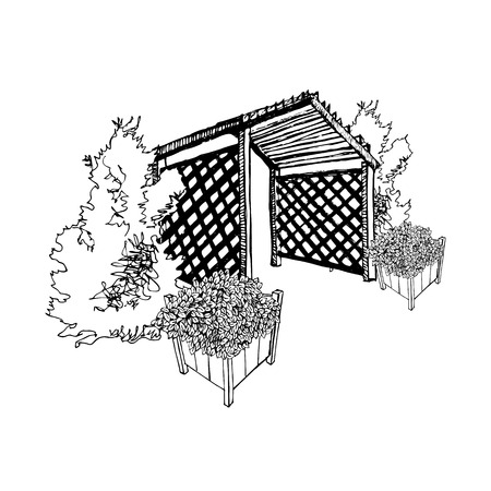 Sketch with pergola, thuja and flower garden pots. Hand drawn graphic vector illustration. Иллюстрация