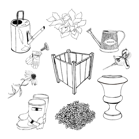 Graphic sketch with different garden objects and flowers. Vector illustration set. Pots, watering can,gloves, vase, echinacea,ajuga, iris, hosta, rubber boots
