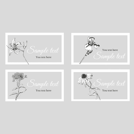Business card with sketch summer flowers and text on a gray background in a white frame. Vector illustration.