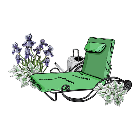 Decorative composition with green lounger, watering can, iris and hosta flowers. Hand drawn sketch isolated on white background. vector illustration.