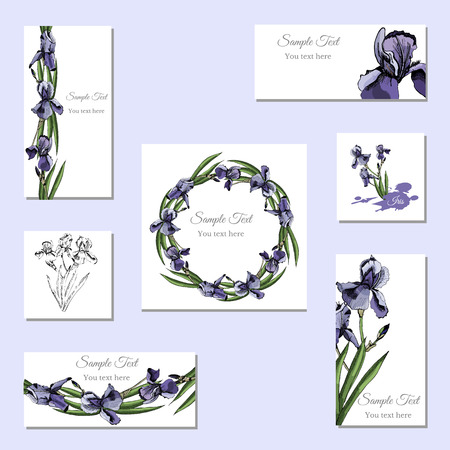 Set greeting and visit card. Hand drawn colored  sketch with wreath of iris flowers and  bouquet.Vector illustration.