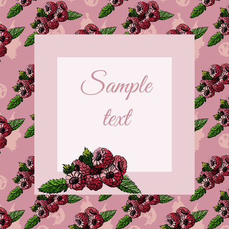 Frame with raspberries pattern and sketch on pink background and  text. Vector illustration. Иллюстрация