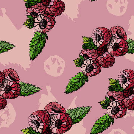 Seamless pattern hand draw graphic and colored  sketch with raspberries, leaves and pink spots on pink background. vector illustration.