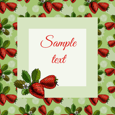 Frame with strawberry pattern and sketch on green background and red text. Vector illustration. Stock Illustratie