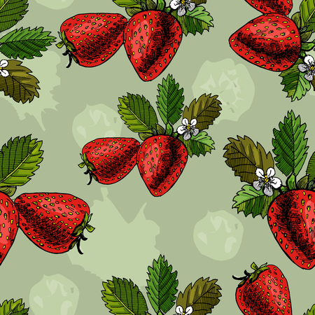 Seamless pattern hand drawn graphic  and colored sketch with strawberry and leaves on light green background. vector illustration. Иллюстрация