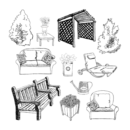 Different hand drawn garden object by ink for visualization outdoor living. Vector illustration.  Иллюстрация