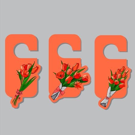 Tags with hand drawn  colored sketch of bouquets spring red tulips on orange background. Vector illustration.