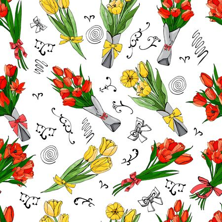 Floral seamless pattern  of  hand drawn graphic  and colored sketch tulip flowers and leaves   on white background. Vector illustration. Иллюстрация