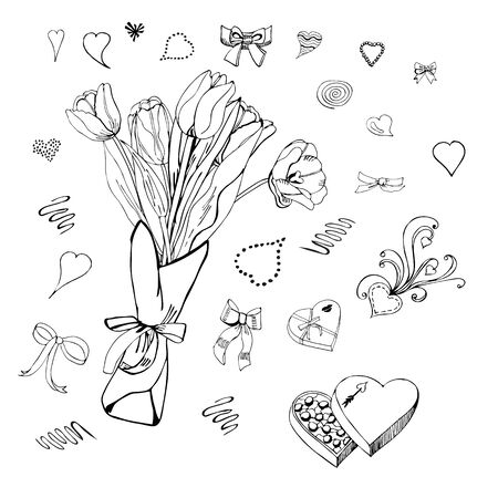 A bouquet of tulips and hearts. Set of design elemens for happy Valentine's day. Grapic doodle and sketch objects isolated on white background.