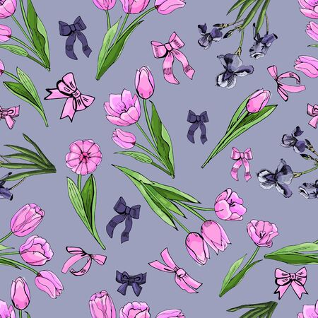 Floral seamless pattern  of  hand drawn graphic  and colored sketch with tulip and iris flowers and leaves   on violet background. Vector illustration. Иллюстрация