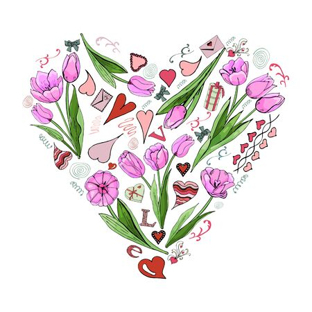 Heaart with Valentine's Day theme doodle symbols and  pink tulip flowers. Hand drawn and colored sketch elements. Vector illustration.