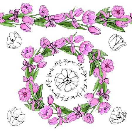 Hand drawn colored  and graphic sketch with wreath  of pink tulip flowers and leaves isolated on white  background.. Vector illustration.