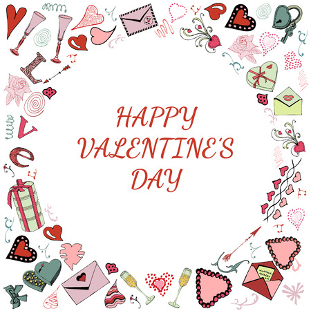 Valentine's Day theme doodle objects. Hand drawn and colored love symbols isolated on white background..Vector illustration Фото со стока - 111949050
