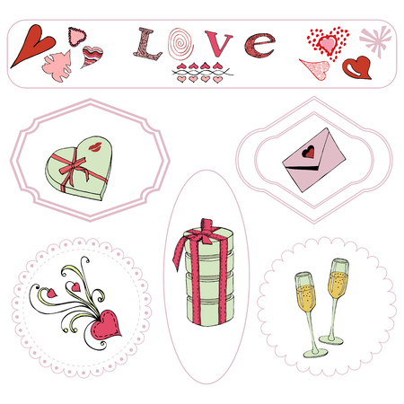 Valentine's Day theme elements. Hand drawn and colored objects in frames. isolated on white background.Vector illustration Иллюстрация