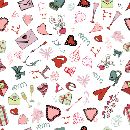 Seamless pattern of Valentine's Day theme doodle elements. Hand drawn and colored love symbols and hearts on white background.Vector illustration