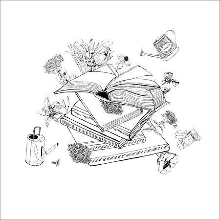 Composition of  hand drawn monochrome  sketch with books, summer flowers, watering cans and gloves for green press. Vector illustration  isolated on white background.
