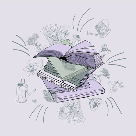 Set of  hand drawn ink and colored  sketch with books, summer flowers, watering cans and gloves for green press. Vector illustration on violet background.