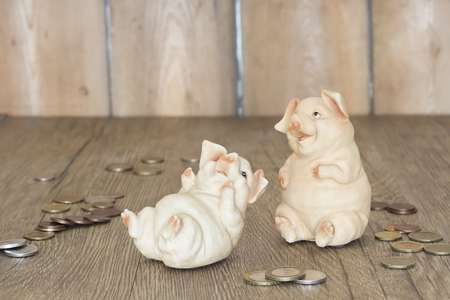 two piggy bank on wooden background. Horizontal. Soft focus.