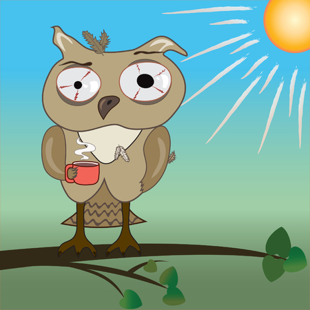 fun in the sun: morning with tired owl. Illustration