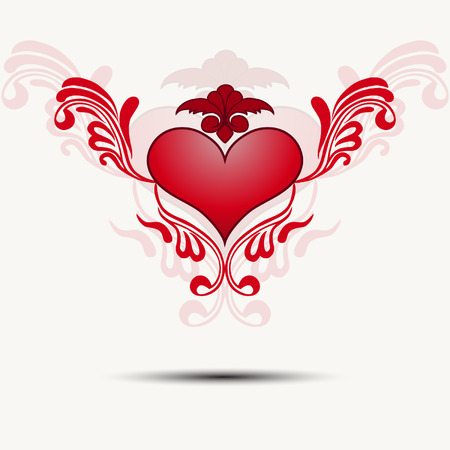 beautifu: Tracery heart with wings.