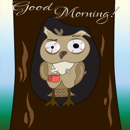 hollow: Good morning with owl in a hollow