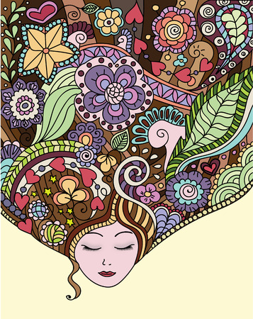 Drawing of the head of the woman of spring with thoughts Illustration
