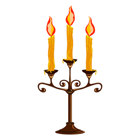 Candlestick with burning three candles, brown