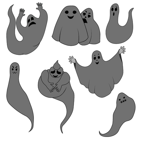 Set for Halloween ghosts, gray ghosts on an isolated background