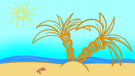 Beach Summer Landscape of a Seashore travel relax vector flat surfboard.